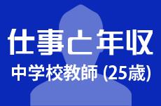 【仕事と年収】中学校教師(25歳男性)の場合